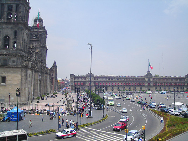 View of the Zocalo from an upper story window across the street