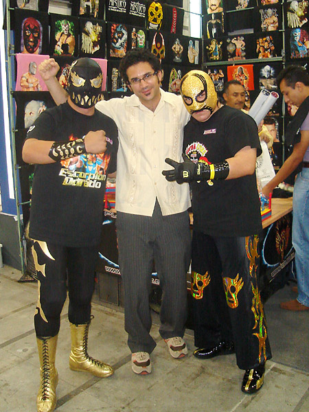 Martin posing with two luchadores - or luchadore wannabes; I think these guys were mostly t-shirt salesmen.