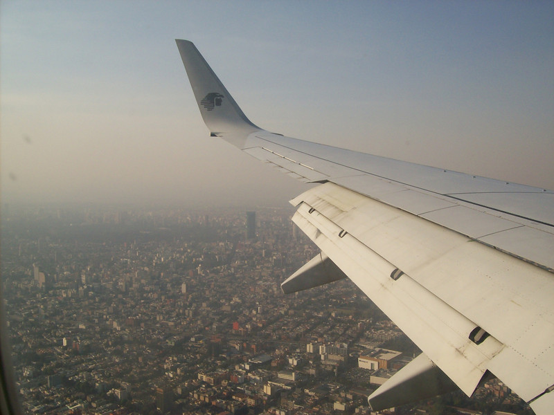 View from the plane heading into Mexico City