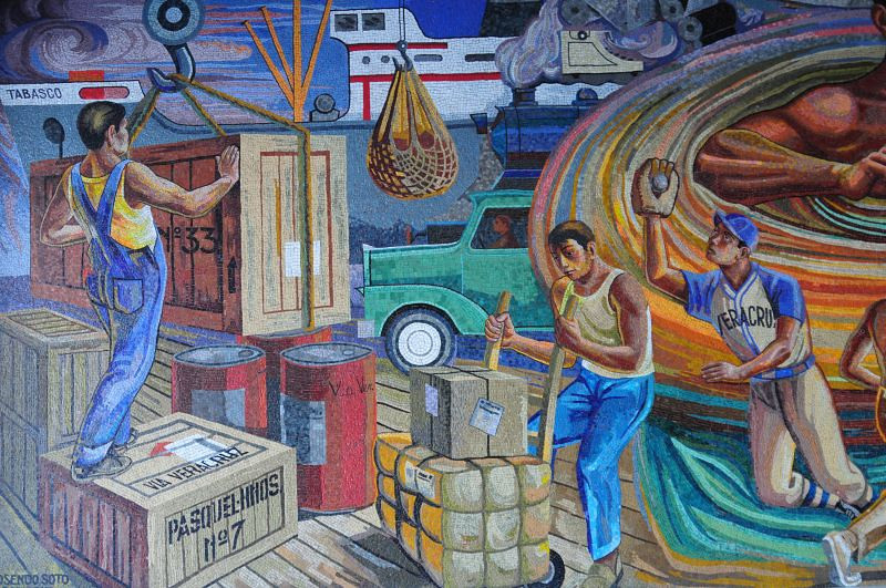 "Left-most portion of a mural produced by <a href=""http://es.wikipedia.org/wiki/Rosendo_Soto"">Rosendo Soto</a> and Jorge Best in 1968 in a building in Mexico City owned by the Pasquel family."