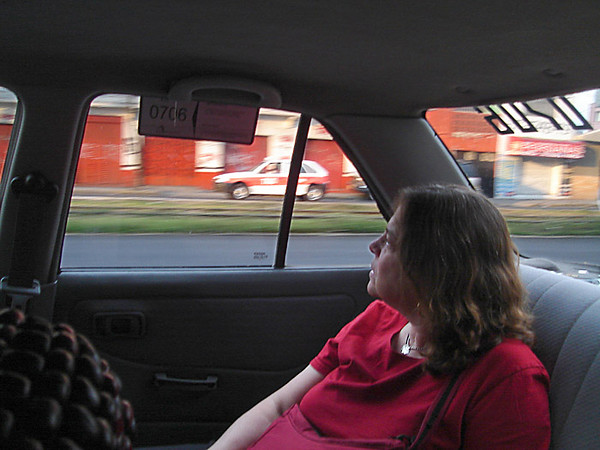 Riding in a cab from the airport. And not a green Volkswagen bug cab either...