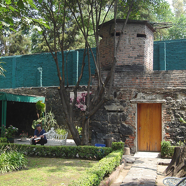 The courtyard at Trotsky's house, with the guard tower.