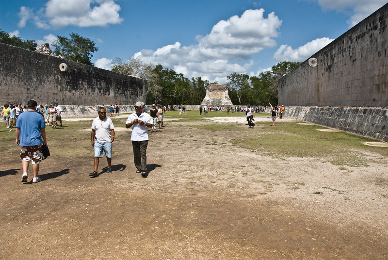 The ancient ball game played by the Mayan Indians was played in this stadium.  A hard rubber ball had to be knocked through the hole in the center of the round hoops on either side of the stadium.  The winning team captain would be sacrificed at the end of the game.  Sometimes it pays to be a loser!