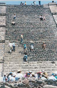 Teotihuacan climbing the pyramid