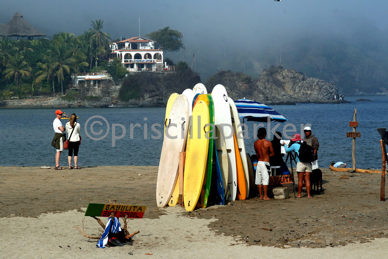Surfing Sayulita, Mexico - it was a weird site to see surfers surfing surounded by mountain fog in the middle of the day.