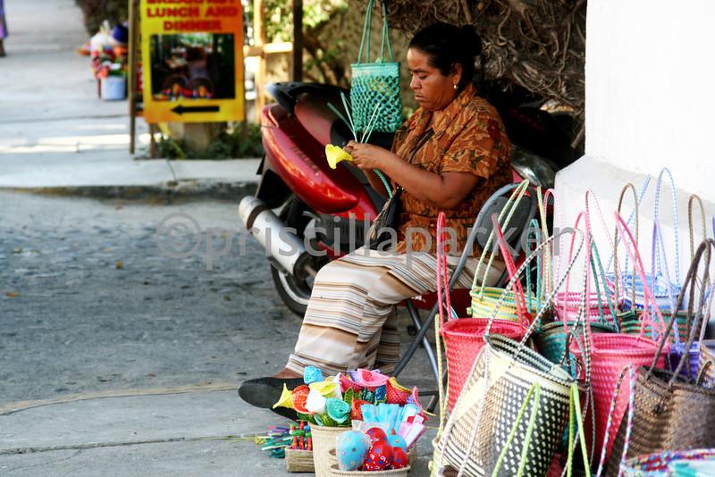 Basket weaver in Bucerias, Mexico