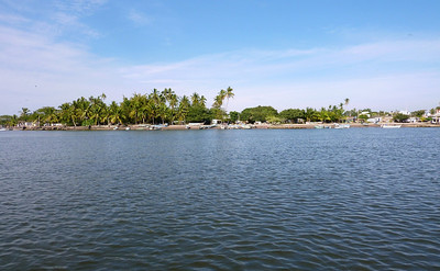 Boats along the channel in San Blas