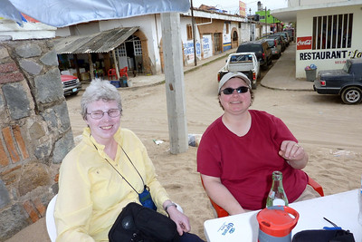 Carla and Mary eating on the beach in La Penita de Jaltemba. They have a nice open marketplace in this town every Thursday. Lots of regional crafts and food.