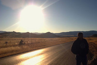 This is the road right above Las Cruces, Chih., Mexico.  Ernesto is looking around at the beautiful scenery.