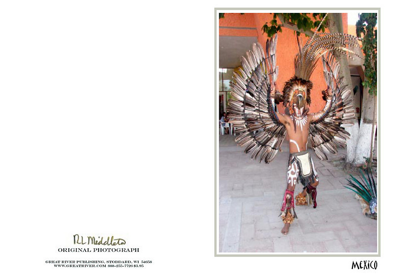 Eagle Warrior costume.<br /> This young man was re-enacting the life of an Aztec Warrior. His authentic costume was glorious in itself, but see what it turned into when he pulled his body together. Next Card!