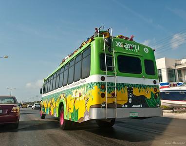 Автобус, который везет туристов в парк
