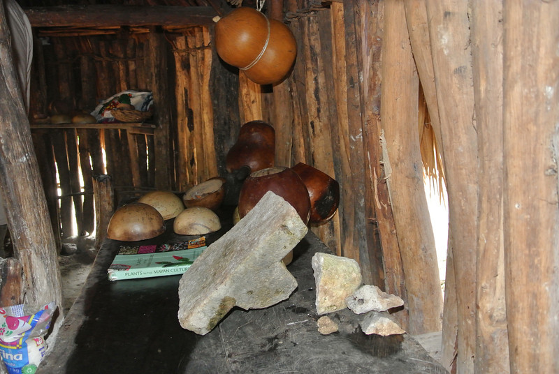 This ancient stone is used for grinding corn by hand. It is very old but just recently found.