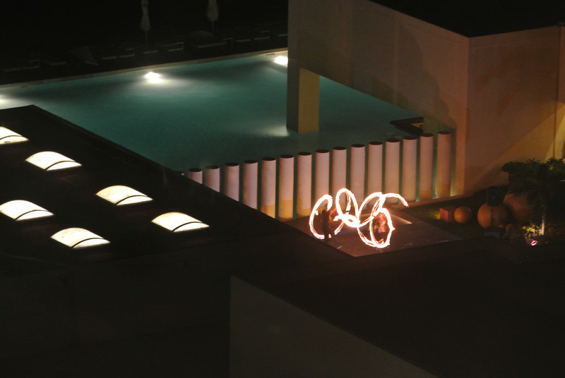 Playing with fire. Evening entertainment at Dreams resort next to Regency.