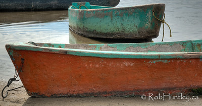 Detail of two small boats at Barra de Potosi, Mexico. © Rob Huntley