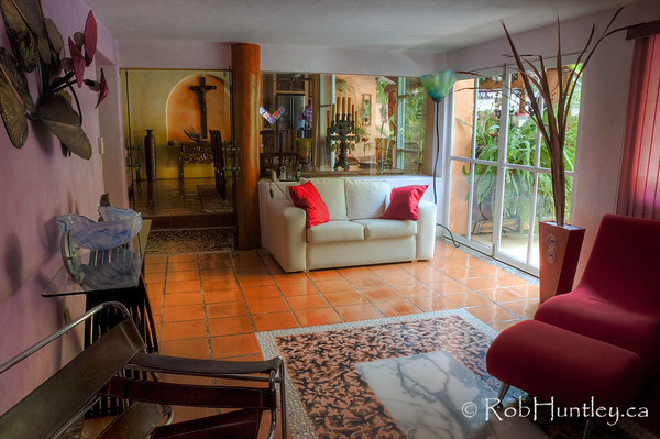 This is the living room/lounge at Casa Candiles, Ixtapa, Mexico. However, we never sat here as we were always outside. © Rob Huntley