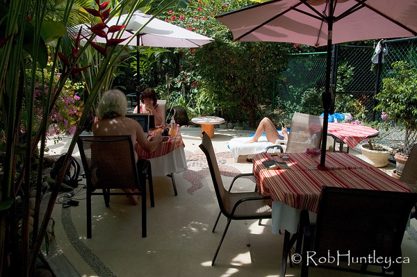 Breakfast patio, internet cafe, sunbathing and non-sunbathing as you wish. Casa Candiles, Ixtapa, Mexico © Rob Huntley
