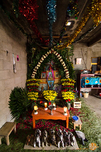 In house shrine (flowers symbolize the movement of Sun)