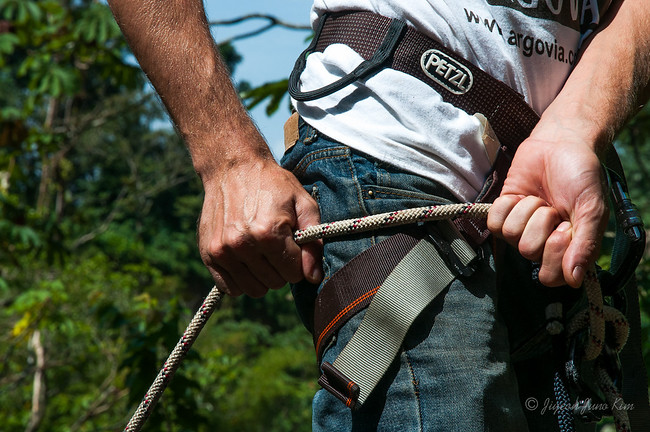 Learning how to rappel at Finca Argovia
