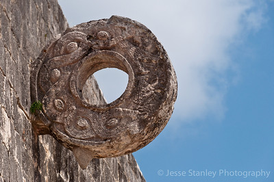 One of two rings carved with intertwining serpents at the Great Ball Court, Chichen Itza