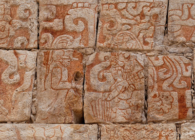 Detail of the murals in the Temple of the Bearded Man, Chichen Itza