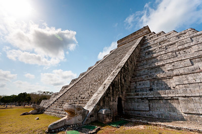 One of the four Feathered Serpent staircases on El Castillo, Chichen Itza