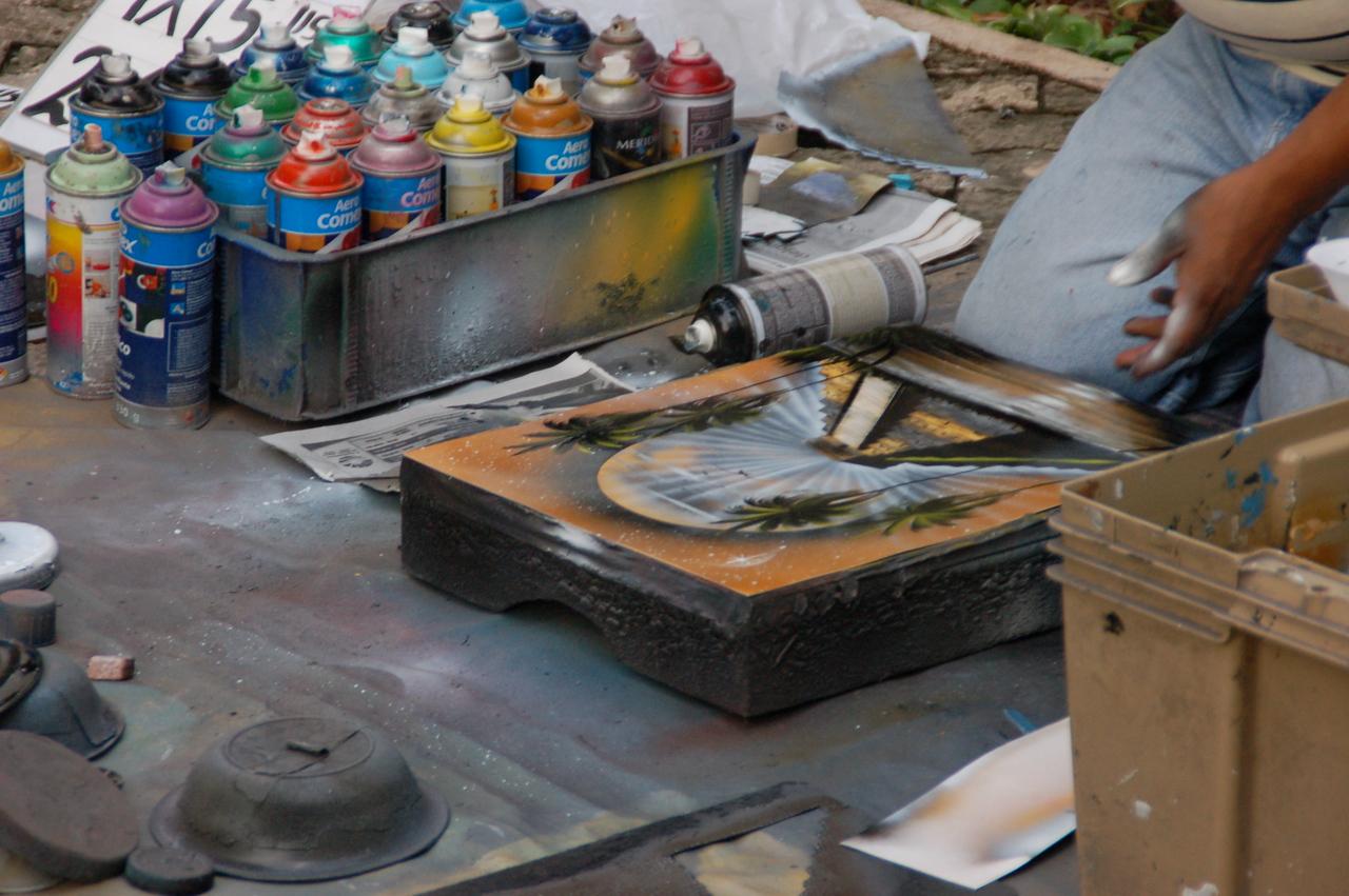 Downtown Playa del Carmen  - spary paint art work.