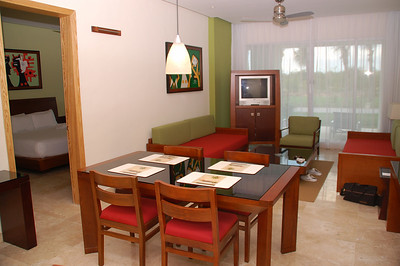 Dining and Living room area, two sofa beds - to the left is the  Grand Master Suite