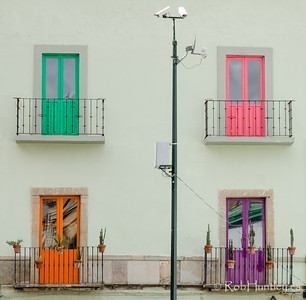 Four coloured doors.