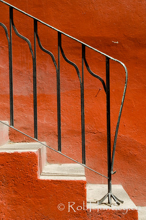 Orange wall and steps.