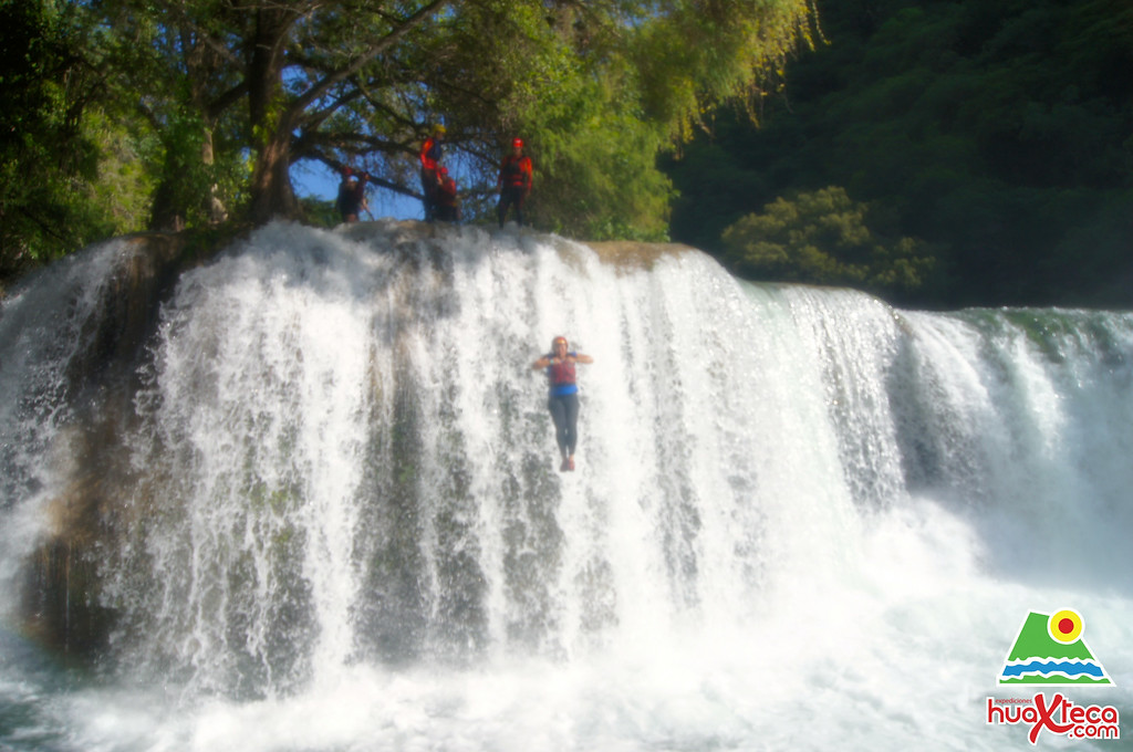 Jumping from the big waterfall!
