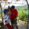 Ethan tries the zipline upside down
