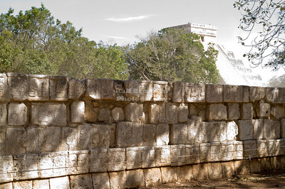 Tzompantli - wall of skulls at Chichén Itzá, Yucatán, Mexico