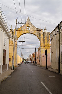 Street with arch in Merida, Yucatan, Mexico