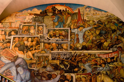 Left-hand side of the massive Diego Rivera mural that depicts Mexico's history at the National Palace in Mexico City