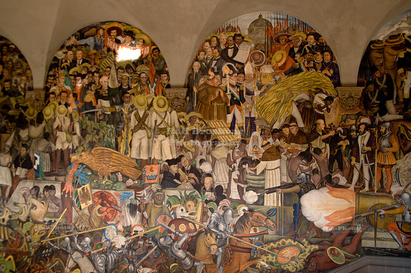Center piece of the massive Diego Rivera mural that depicts Mexico's history at the National Palace in Mexico City