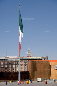 Giant Mexican Flag on Constitution Square - Plaza de la Constitución - El Zócalo, Mexico City, Mexico