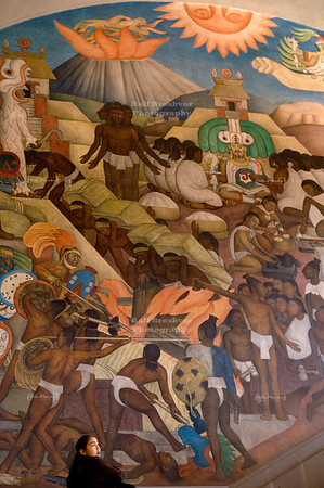 Right side of the massive Diego Rivera mural that depicts Mexico's history at the National Palace in Mexico City