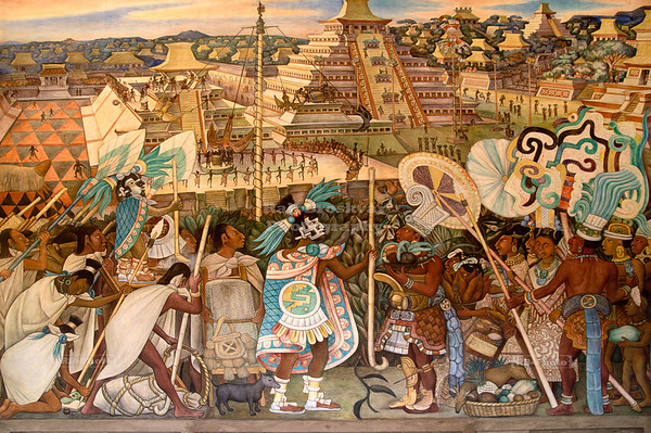 Diego Rivera Mural about the Totonac Civilization at the National Palace in Mexico City, Mexico