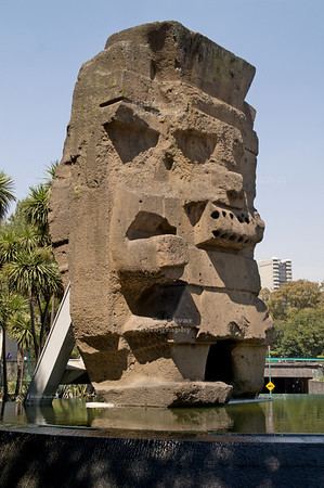 The Aztec Rain God Tláloc at the entrance to the National Museum of Anthropology and History, Mexico City, Mexico