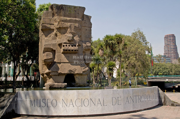 Aztec Rain God Tláloc at the entrance to the National Museum of Anthropology and History, Mexico City, Mexico