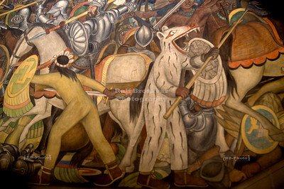 Detail of the center piece of the massive Diego Rivera mural that depicts Mexico's history at the National Palace in Mexico City