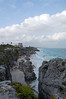 Caribbean Ocean view with the Tulum Castle, a pre-columbian Maya site, Yucatan, Mexico