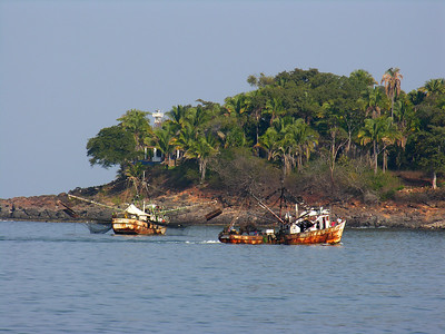 © Joseph Dougherty. All rights reserved.  Mexican fishing trawlers in the bay.  Chacala, Nayarit Province, Mexico.