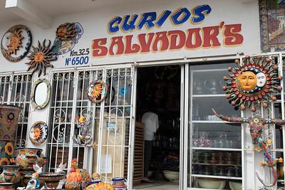 """Curios Salvador's at Kilometer 32.5 on Baja California's """"free"""" Highway 1.  Rosarita Beach"""