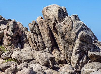 Rock formations on the shoreline.