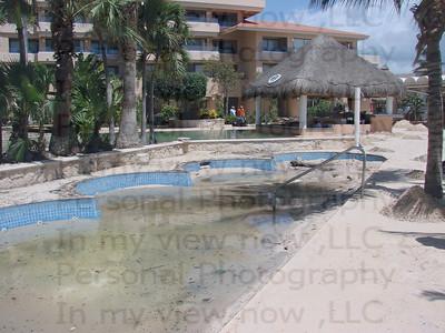 Swimming pool full of sand.
