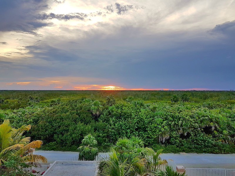Remote part of Mexico - sunset over the jungle
