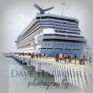 """Mexico Carnival Triumph 2012 Cruise, Progresso Chichen Itza Shore Trip MEDIUM CLOSE UP OF NAME, """"CARNIVAL TRIUMPH,"""" RETURNING FROM CHICHEN ITZA AT PORT OF PROGRESSO"""