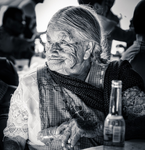 Elderly Lady and Her Corona (Black & White)