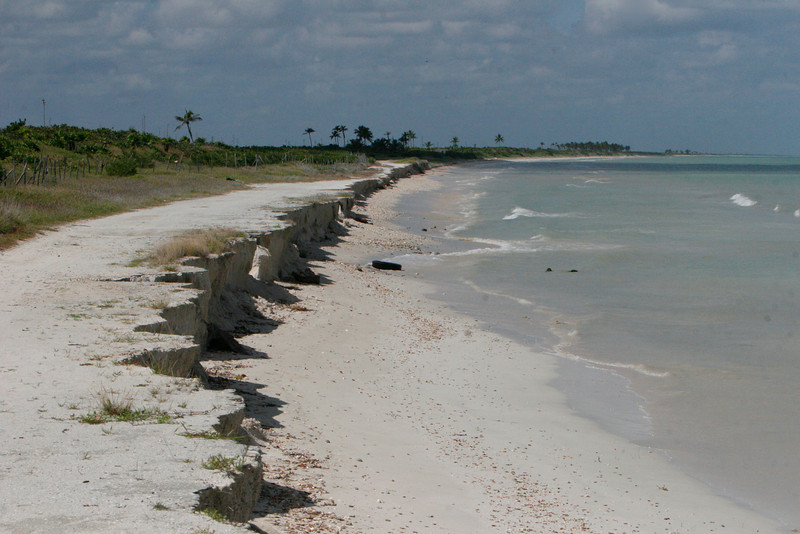 This illustrates a small problem. This is beach erosion caused by higher seas and stronger storms.  This used to be the coast road to Los Colorados a salt plant town down the coast. No more.